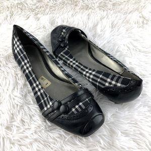 Fioni Black and White Plaid Slip On Ballet Flat 8